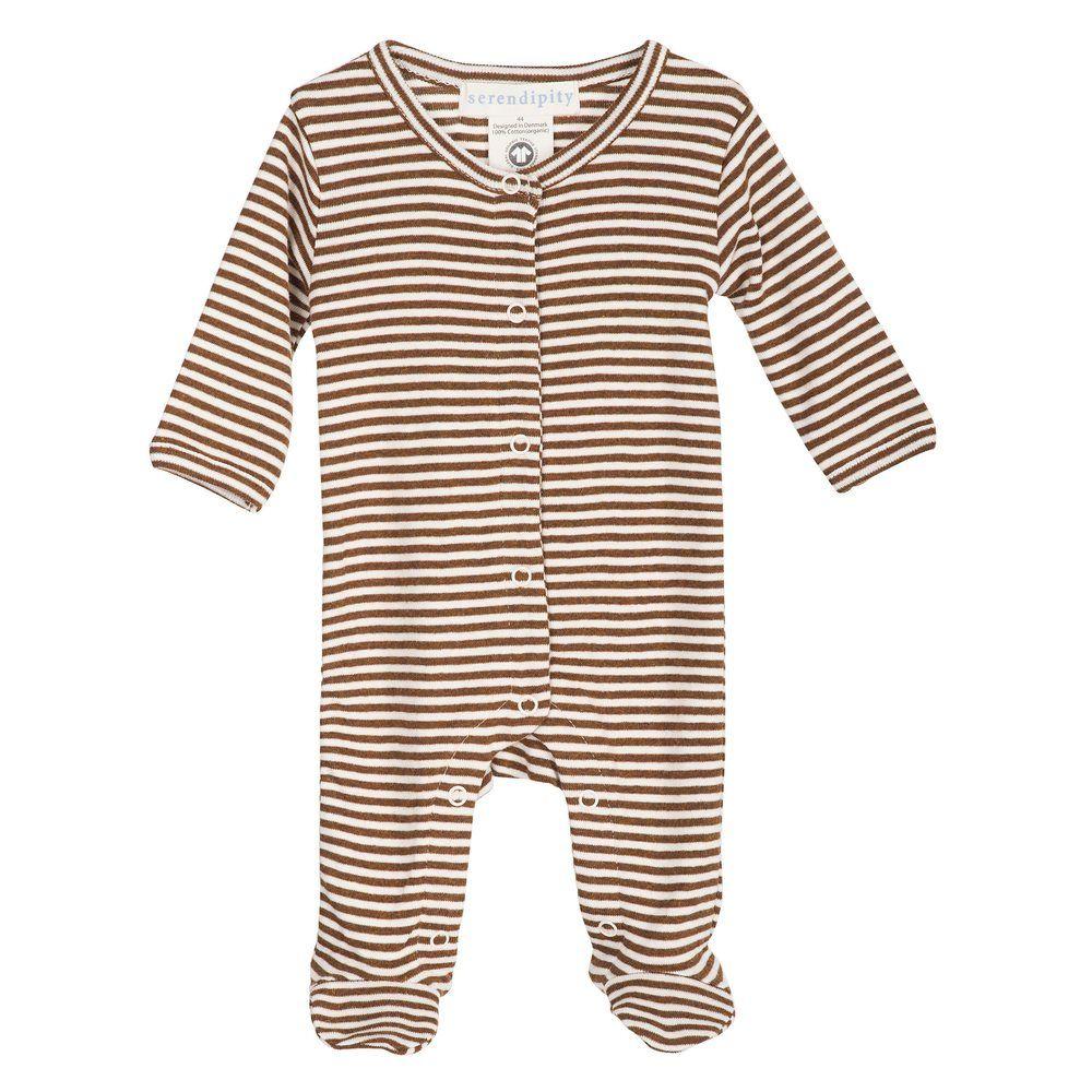 Serendipity Newborn Stripe Suit Caramel / Offwhite
