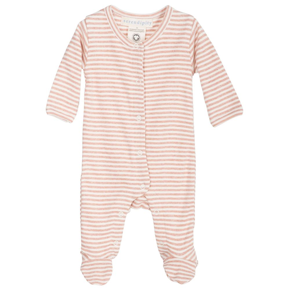 Serendipity Newborn Stripe Suit Clay / Offwhite